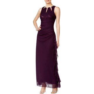 Betsy & Adam Womens Petites Evening Dress Embellished Lace Bodice
