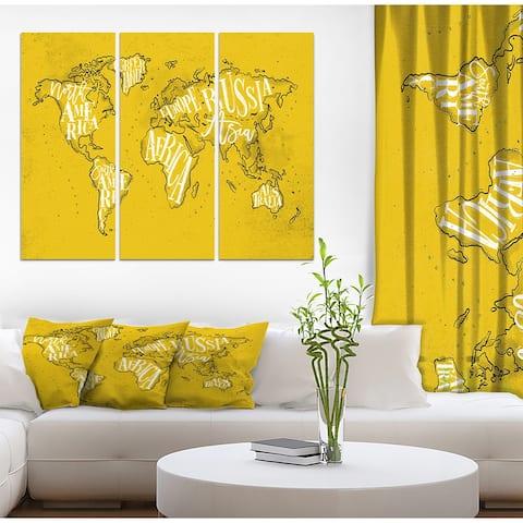 Designart 'Vintage Yellow Worldmap' Maps Print on Wrapped Canvas set - 36x28 - 3 Panels