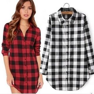Women Plaid Blouse Tops Girls Casual Shirts