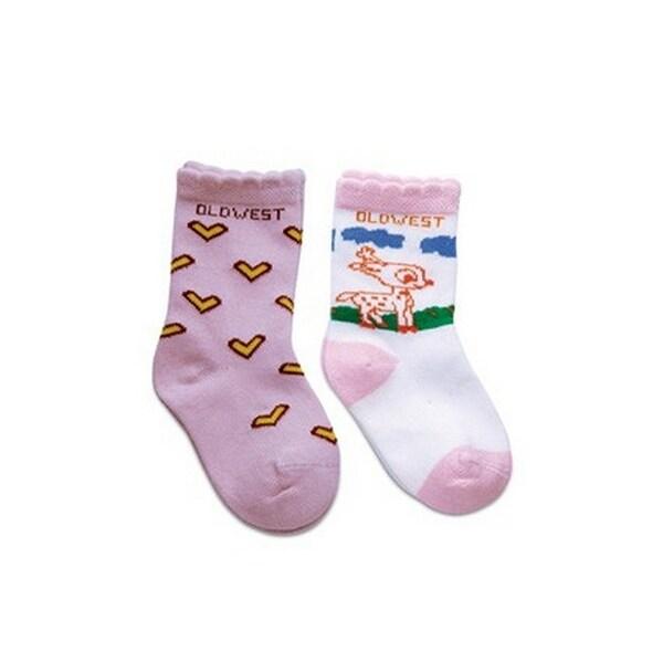 Old West Socks Girls Infant Poppet Reinforced Print 2 pack Pink