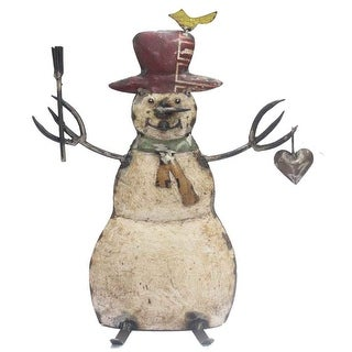 "Link to HomeRoots 6"" x 12"" x 14"" White/Red/Bronze/Yellow, Reclaimed Iron - Snowman Similar Items in Christmas Decorations"