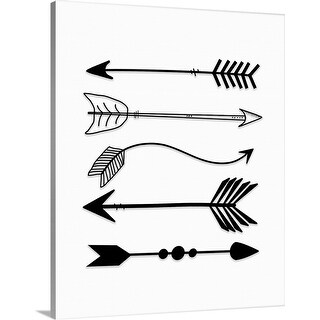 """Black Arrows on White"" Canvas Wall Art"