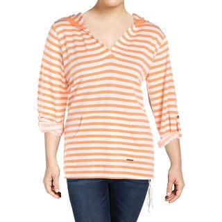 Marc New York by Andrew Marc Womens Plus Hoodie V-Neck Striped