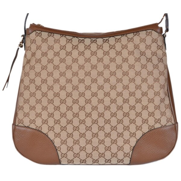 61c2ebce866 Shop Gucci 449244 Large BREE Canvas Beige Brown Leather Purse Hobo ...
