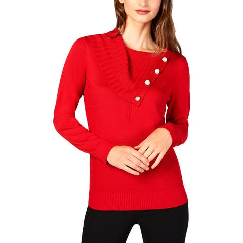 NY Collection Womens Petites Pullover Sweater Split Neck Ribbed
