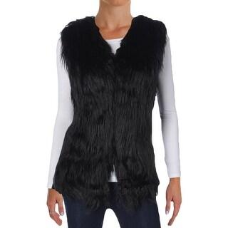 Ambiance Womens Casual Vest Faux Fur Open Front - s