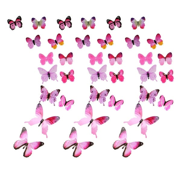 3D Butterfly Wall Sticker Decal Paper Stickers for Bedroom Decoration Pink