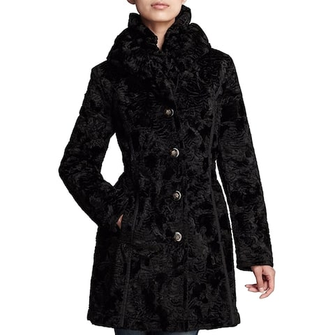 LAUNDRY by SHELLI SEGAL Womans Black puffer Reversible 3,4 Coat Hooded