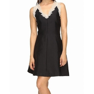 Adelyn Rae Black Womens Size Medium M A-Line Eyelash Lace Dress