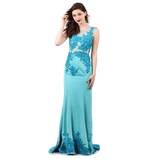 Stretch Satin Embroidered Gown