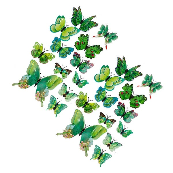 3D Butterfly Sticker Pin Type Home Bedroom Decoration with Double Wing - Green