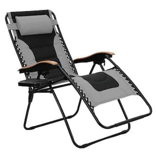 PHI VILLA Oversize XL Padded Zero Gravity Lounge Chair Wider Armrest Adjustable Recliner with Cup Holder, Support 350 LBS,