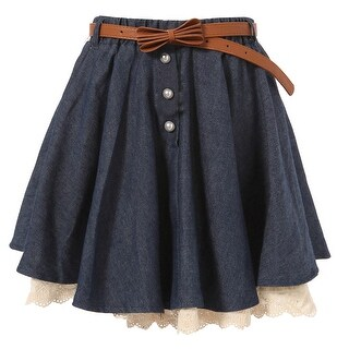 Richie House Girls' Skirt with Ivory Lace Hem and Pearl Accents