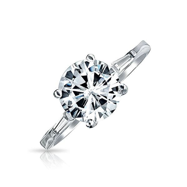 Shop 925 Sterling Silver 3ct Aaa Cz Solitaire Engagement Ring Baguette Band Overstock 17987387