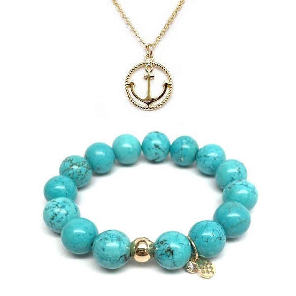 "Turquoise Magnesite 7"" Bracelet & Anchor Gold Charm Necklace Set"