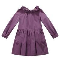 Richie House Little Girls Purple Ruffled Collar Dress 3-7