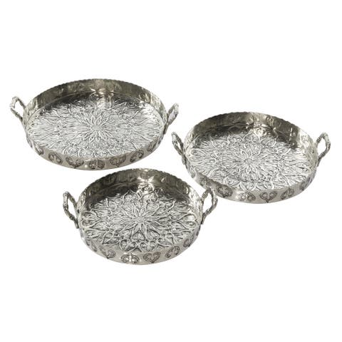 3-Pcs Metal Tray For Serving And Decorating Round Tray With Handles Embossed Design Silver - 16 x 14 x 3Round