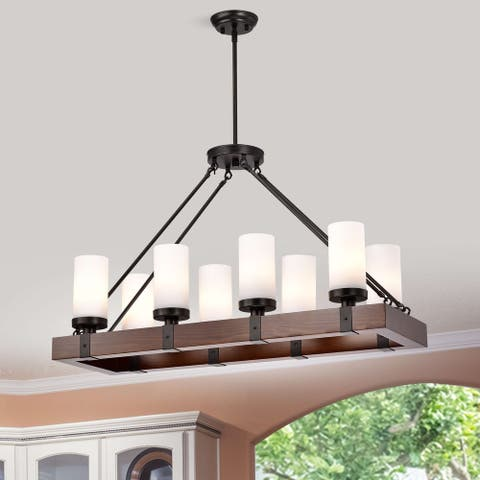 Daniela Antique Wood Chandelier with Frosted Glass Globes