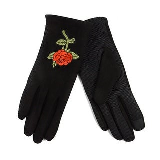 Women's Rose Embroidered Touch Screen Winter Gloves with Fleece Lining