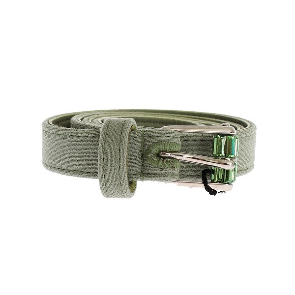 Dolce & Gabbana Dolce & Gabbana Green Cotton Silver Buckle Logo Waist Belt - 70-cm-28-inches