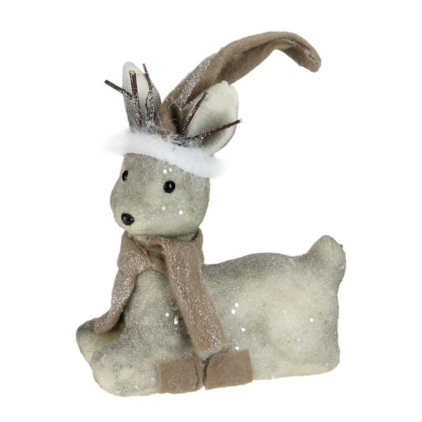 "10"" Lying Snow Kissed Reindeer Christmas Figure Decoration"