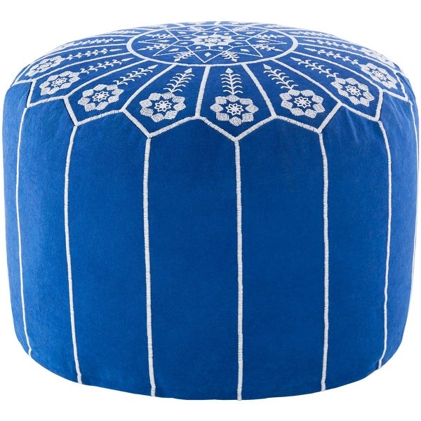 "20"" Blue and White Floral Round Pouf Ottoman - N/A"
