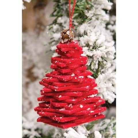 """Red Felt Stacked Christmas Tree Ornament - 3"""" H x 1.5"""" Sq."""