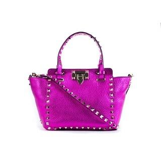 Valentino Womens Metallic Pink Mini Rockstud Trapeze Tote Bag - XS