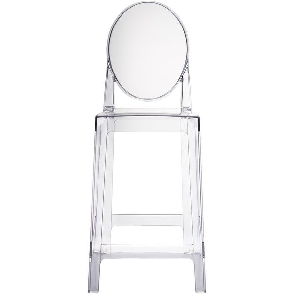"2xhome - Clear - 25"" Seat Height With Modern Plastic Side Armless Bar Stool Counter Stool Accent Stool - Lounge No Arms"