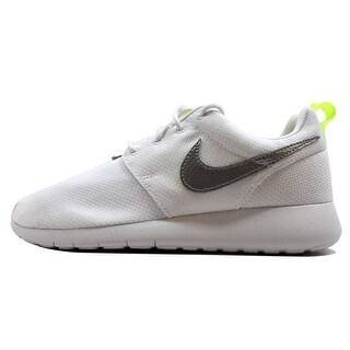 Nike Grade-School Roshe One 1 White/Metallic Silver-Volt 599729-101 Size 6.5Y