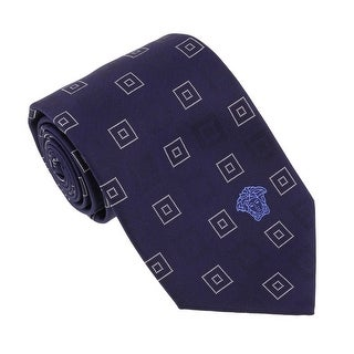 Versace Navy Blue Woven Square Print Tie