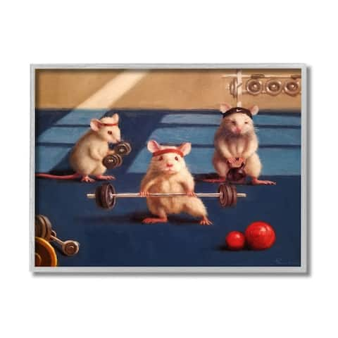 Stupell Industries Mice Lifting Weights Animal Gym Rat Humor Framed Wall Art