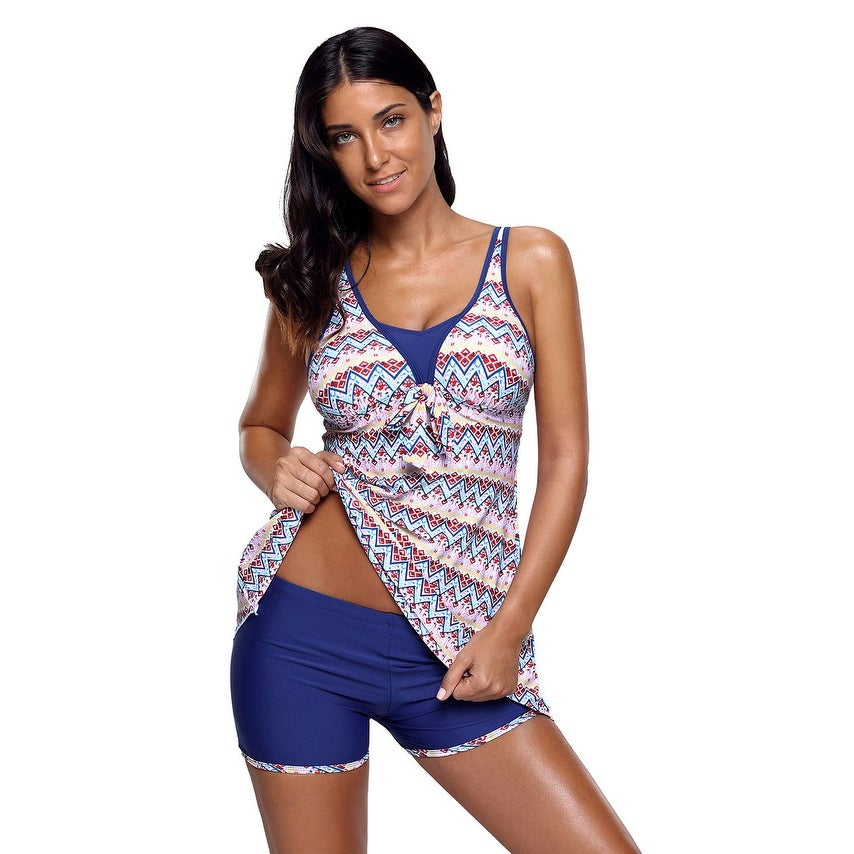 Cali Chic Womens Two Piece Swimsuit Celebrity Aztec Print Bow Tie Detail Tankini And Shorts by  Design