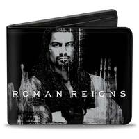 Roman Reigns Weathered Pose3 + One Versus All Black Grays White Blue Bi Bi-Fold Wallet - One Size Fits most
