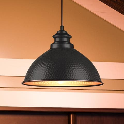 """Luxury Hammered Pendant, 8""""H x 12""""W, with Vintage Style, Midnight Black, UHP1171 by Urban Ambiance - 8H x 12W x Dep"""
