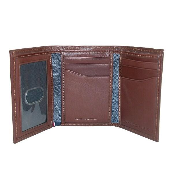 New Tommy Hilfiger Logan Tan Leather Zipper Men Wallet Trifold Credit Card
