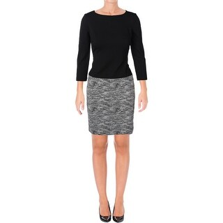 Lauren Ralph Lauren Womens Vasha Wear to Work Dress Faux Leather Knit
