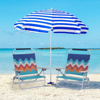 Alpha Camp 2-Piece Low Folding Adjustable Beach Chairs with Cooler Bag