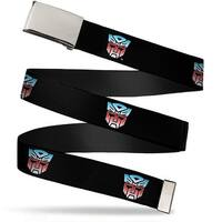 Blank Chrome  Buckle Autobot Logo Repeat Black Blue Red Fade Webbing Web Belt - S