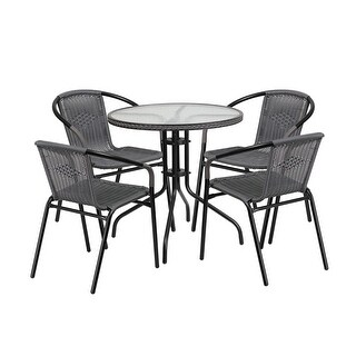 Offex 28'' Round Glass Metal Table with Gray Rattan Edging and 4 Gray Rattan Stack Chairs