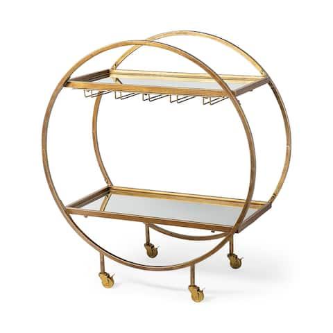 Mercana Carola Gold Frame Two-Tier Glass Shelves w/Stemware Holder Bar Cart - 18.0L x 36.0W x 40.0H