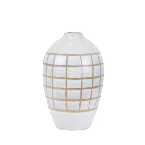 """Ceramic 14"""", Patterned Vase, Beige"""