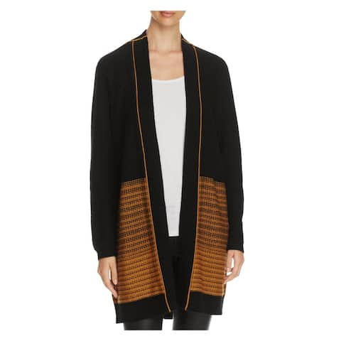 Finity Womens Cardigan Sweater Ribbed Trim Long Sleeves
