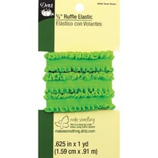 """Neon Green - Ruffle Elastic 5/8""""X1yd"""