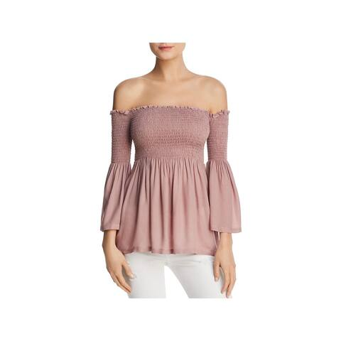 Chaser Womens Blouse Smocked Off-The-Shoulder - M