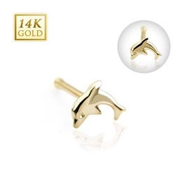"14 Karat Solid Yellow Gold Dolphin Nose Stud Ring - 20 GA 5/16"" Long (Sold Ind.)"