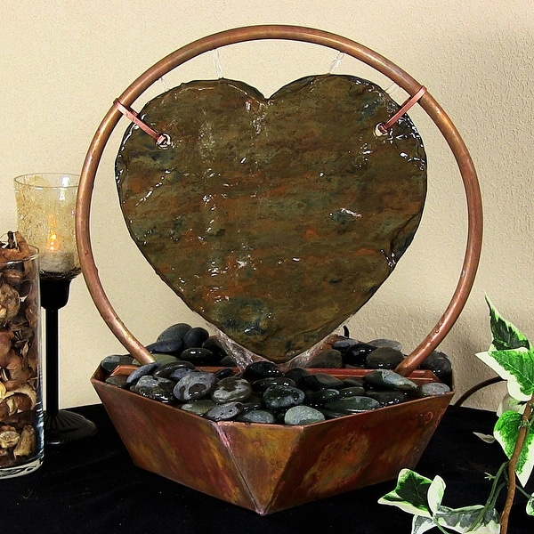 Sunnydaze Copper & Slate Heart Tabletop Gong Water Fountain w/ River Rocks