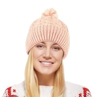 Chunky Cable Knit Beanie Hat With Pom Pom - Winter Soft Stretch Cap Hat - Pink