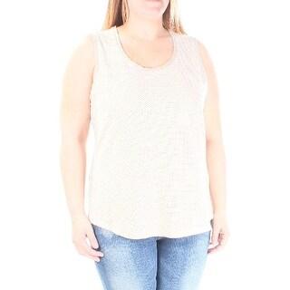 CALVIN KLEIN Womens White Eyelet FAUX SUEDE Sleeveless Jewel Neck Top  Size: S