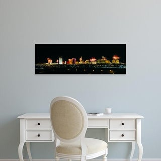 Easy Art Prints Panoramic Images's 'Buildings lit up at night, Las Vegas, Nevada, USA' Premium Canvas Art